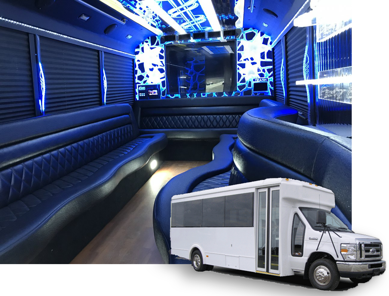17 pass limo bus interior